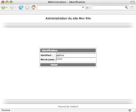Tutorial : Installation d'un site - Identification administrative